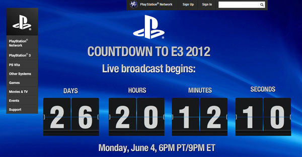Sony abre una web dedicada al streaming del E3 2012