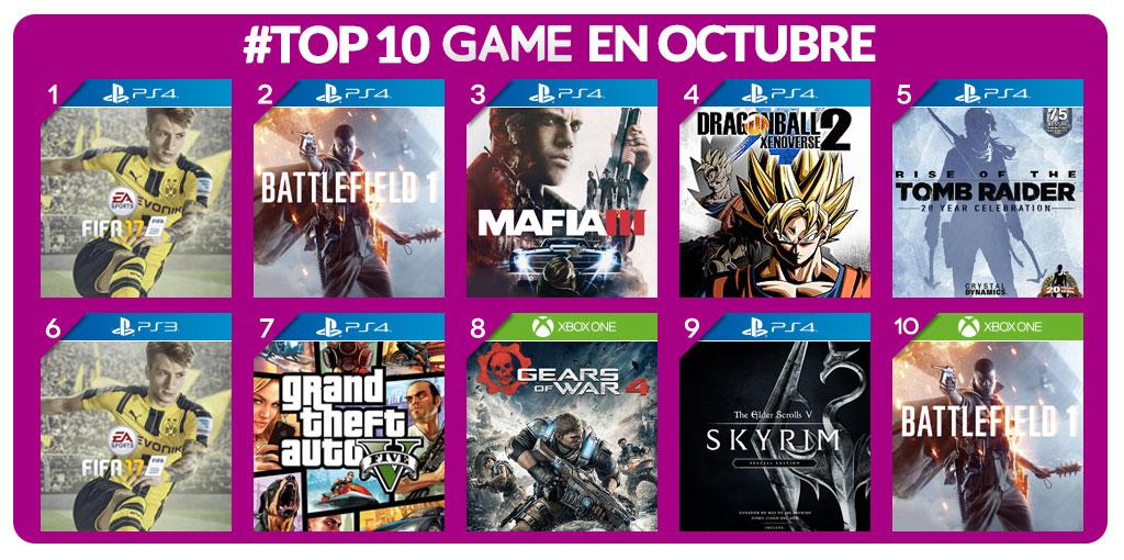 los mas vendidos game octubre-2016