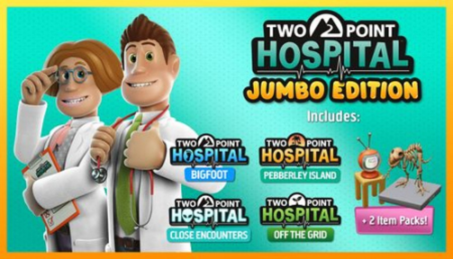 Two Point Hospital Jumbo Edition main theme infographic